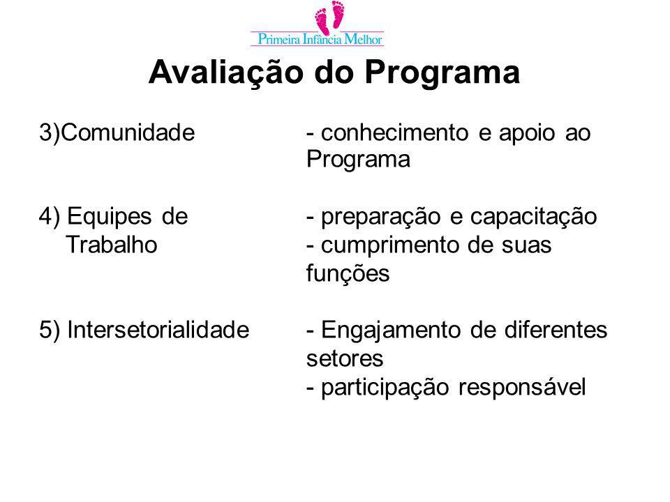 Avaliação do Programa 3)Comunidade- conhecimento e apoio ao Programa 4) Equipes de- preparação e capacitação Trabalho- cumprimento de suas funções 5) Intersetorialidade- Engajamento de diferentes setores - participação responsável