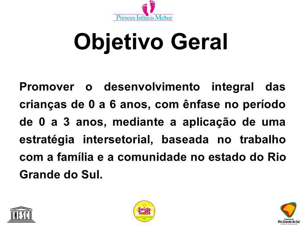 Objetivo Geral Promover o desenvolvimento integral das crianças de 0 a 6 anos, com ênfase no período de 0 a 3 anos, mediante a aplicação de uma estratégia intersetorial, baseada no trabalho com a família e a comunidade no estado do Rio Grande do Sul.