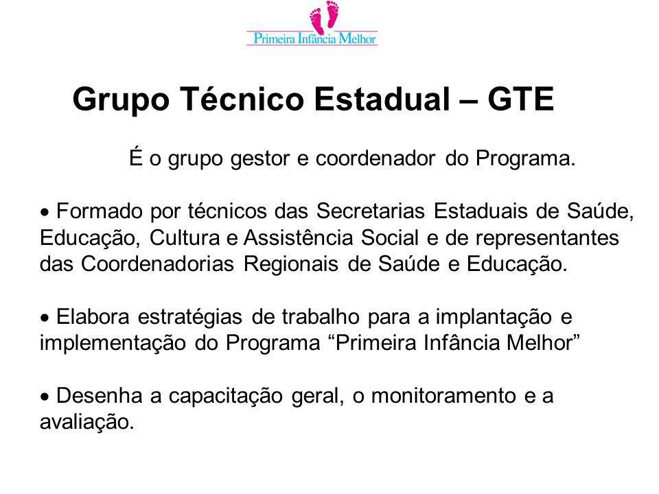 Grupo Técnico Estadual – GTE É o grupo gestor e coordenador do Programa.