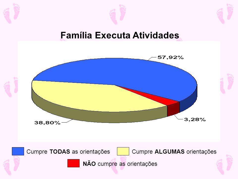 Família Executa Atividades Cumpre TODAS as orientações Cumpre ALGUMAS orientações NÃO cumpre as orientações