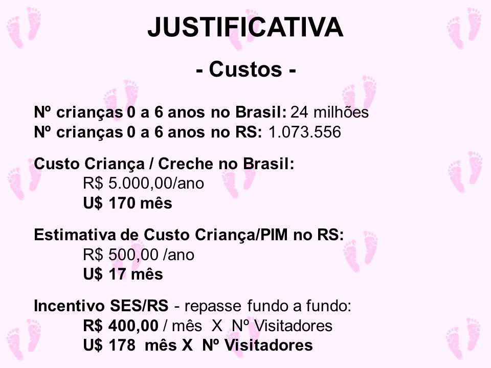 Nº crianças 0 a 6 anos no Brasil: 24 milhões Nº crianças 0 a 6 anos no RS: 1.073.556 Custo Criança / Creche no Brasil: R$ 5.000,00/ano U$ 170 mês Estimativa de Custo Criança/PIM no RS: R$ 500,00 /ano U$ 17 mês Incentivo SES/RS - repasse fundo a fundo: R$ 400,00 / mês X Nº Visitadores U$ 178 mês X Nº Visitadores JUSTIFICATIVA - Custos -