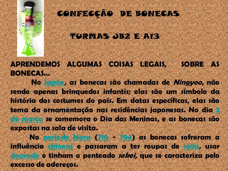 CONFECÇÃO DE BONECAS TURMAS JB2 E A13 APRENDEMOS ALGUMAS COISAS LEGAIS, SOBRE AS BONECAS...