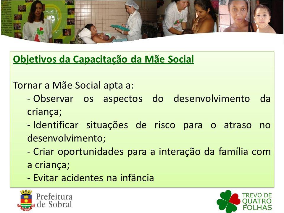 Objetivos da Capacitação da Mãe Social Tornar a Mãe Social apta a: - Observar os aspectos do desenvolvimento da criança; - Identificar situações de ri