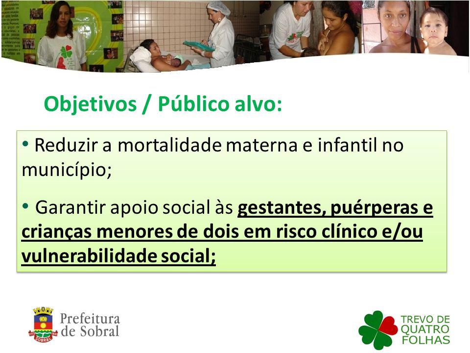 Objetivos / Público alvo: Reduzir a mortalidade materna e infantil no município; Garantir apoio social às gestantes, puérperas e crianças menores de d