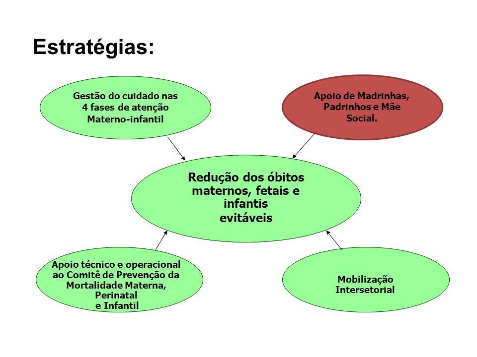 Redução dos óbitos maternos, fetais e infantis evitáveis Gestão do cuidado nas 4 fases de atenção Materno-infantil Apoio de Madrinhas, Padrinhos e Mãe