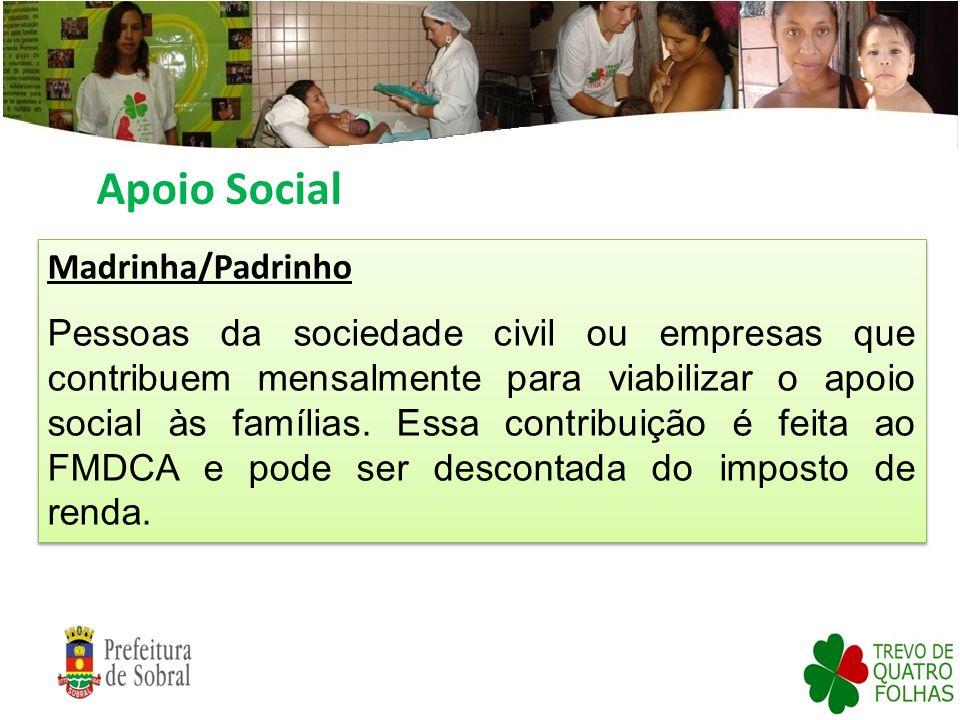 Apoio Social Madrinha/Padrinho Pessoas da sociedade civil ou empresas que contribuem mensalmente para viabilizar o apoio social às famílias. Essa cont