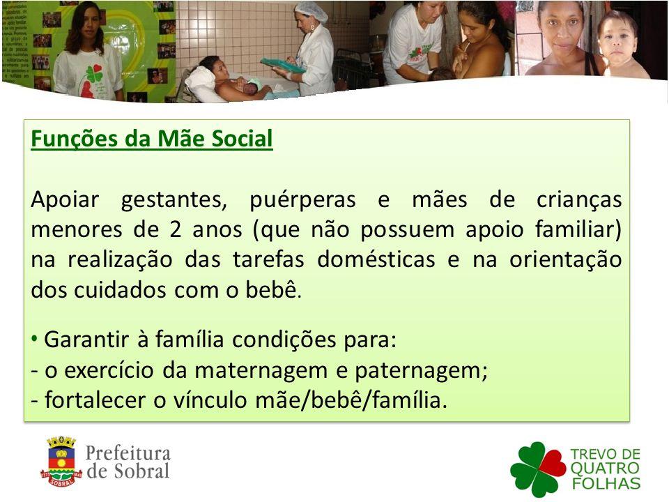 Funções da Mãe Social Apoiar gestantes, puérperas e mães de crianças menores de 2 anos (que não possuem apoio familiar) na realização das tarefas domé