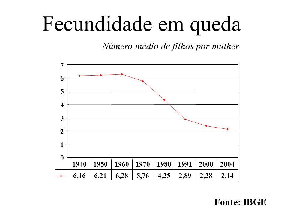 Fecundidade em queda Número médio de filhos por mulher 0 1 2 3 4 5 6 7 6,166,216,285,764,352,892,382,14 19401950196019701980199120002004 Fonte: IBGE