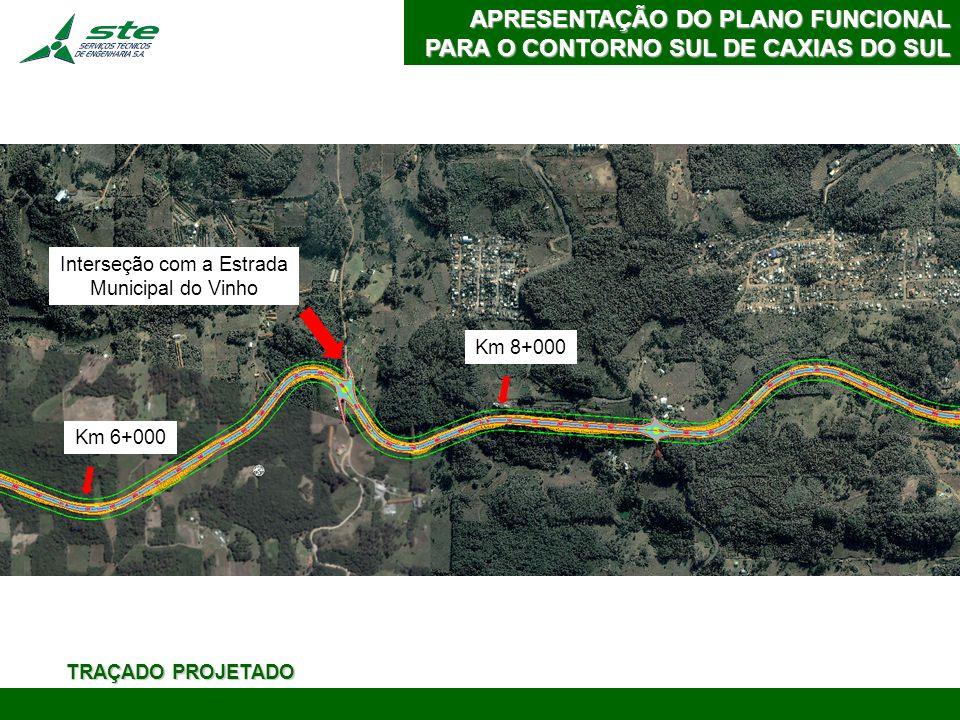 APRESENTAÇÃO DO PLANO FUNCIONAL PARA O CONTORNO SUL DE CAXIAS DO SUL Interseção com BR-116 Km 10+000 Km 13+000 TRAÇADO PROJETADO