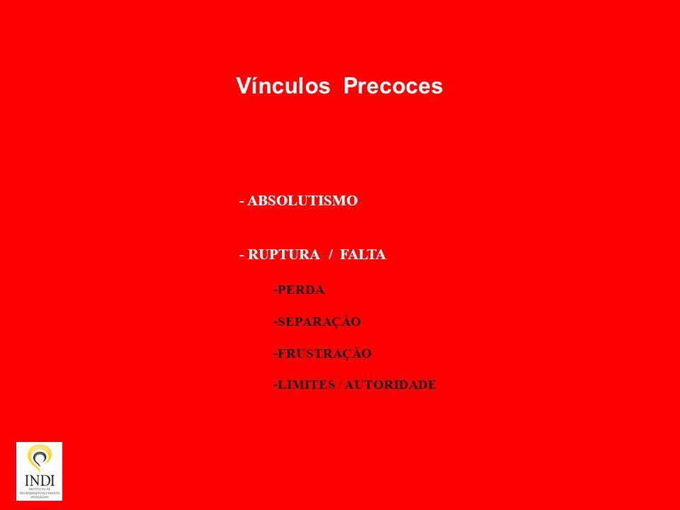 Vínculos Precoces - ABSOLUTISMO - RUPTURA / FALTA -PERDA -SEPARAÇÃO -FRUSTRAÇÃO -LIMITES / AUTORIDADE