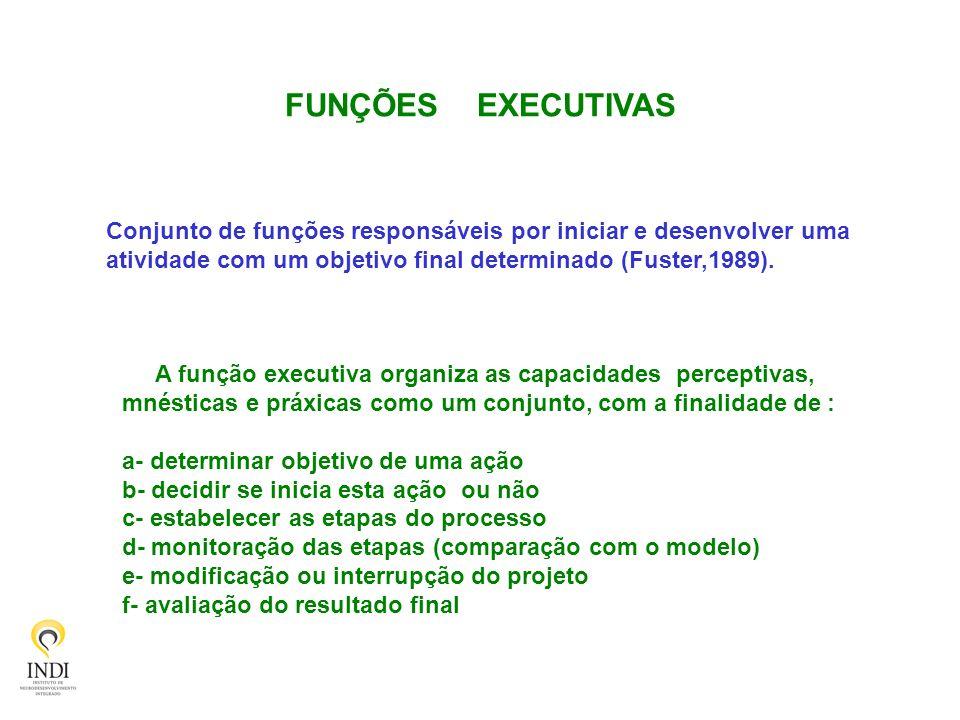 FUNÇÕES EXECUTIVAS Conjunto de funções responsáveis por iniciar e desenvolver uma atividade com um objetivo final determinado (Fuster,1989). A função