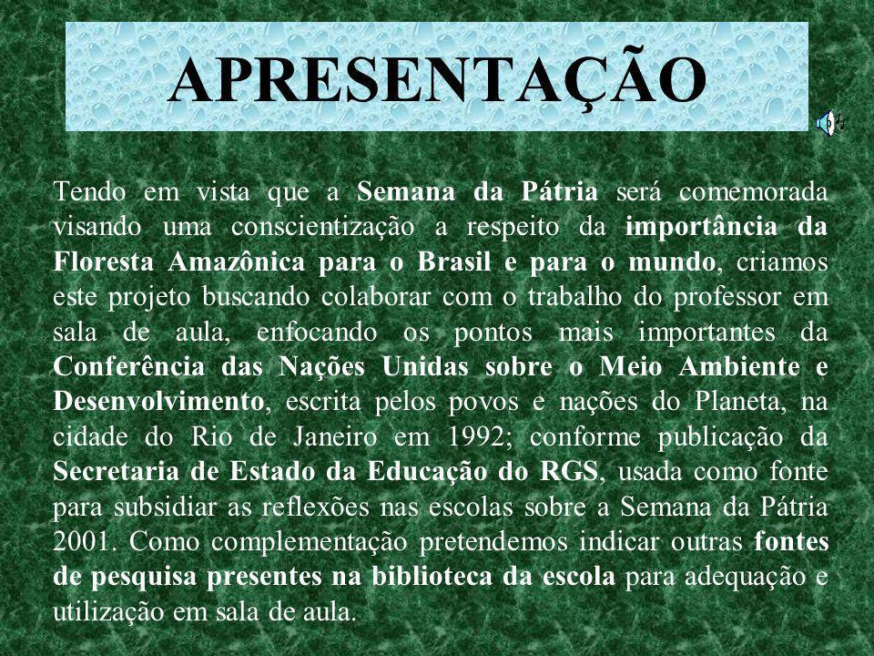 Projeto Semana da Pátria - 2001 TEMA: RESGATE DA AMAZÔNIA BIBLIOTECA ESCOLA ESTADUAL ANDRÉ LEÃO PUENTE HELENA OLIVEIRA NEVES