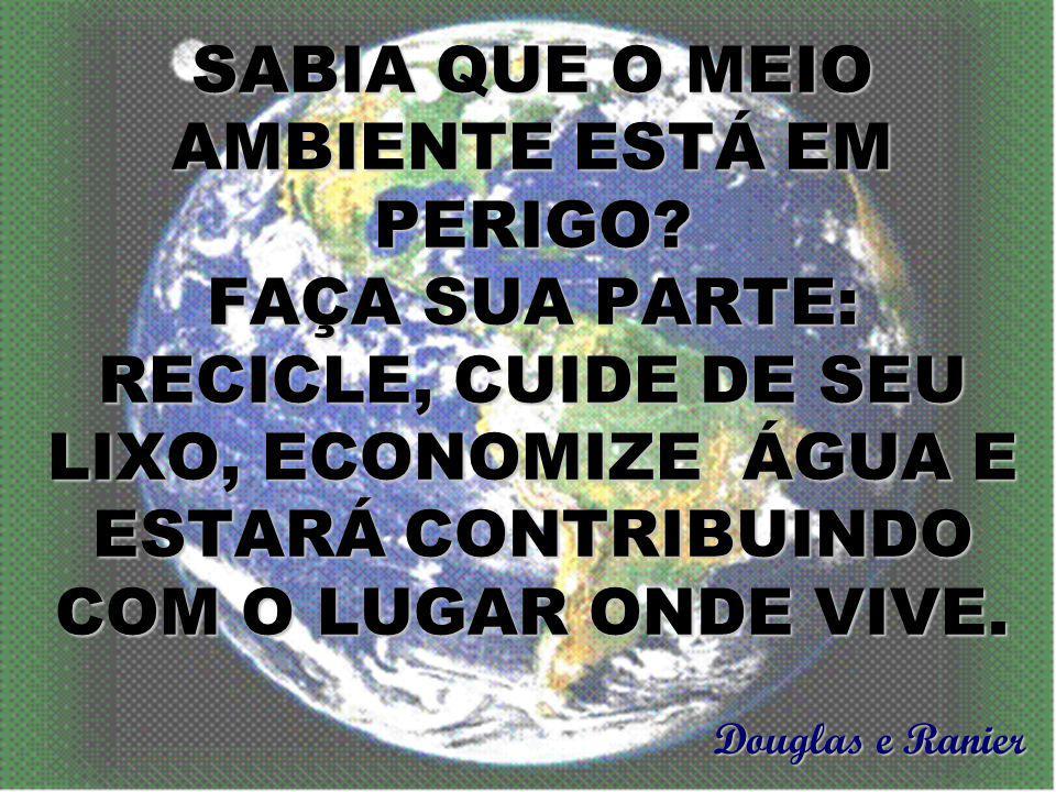 O planeta está doente porque a população está jogando muito lixo nos rios e ruas. Luiz e Vinicius