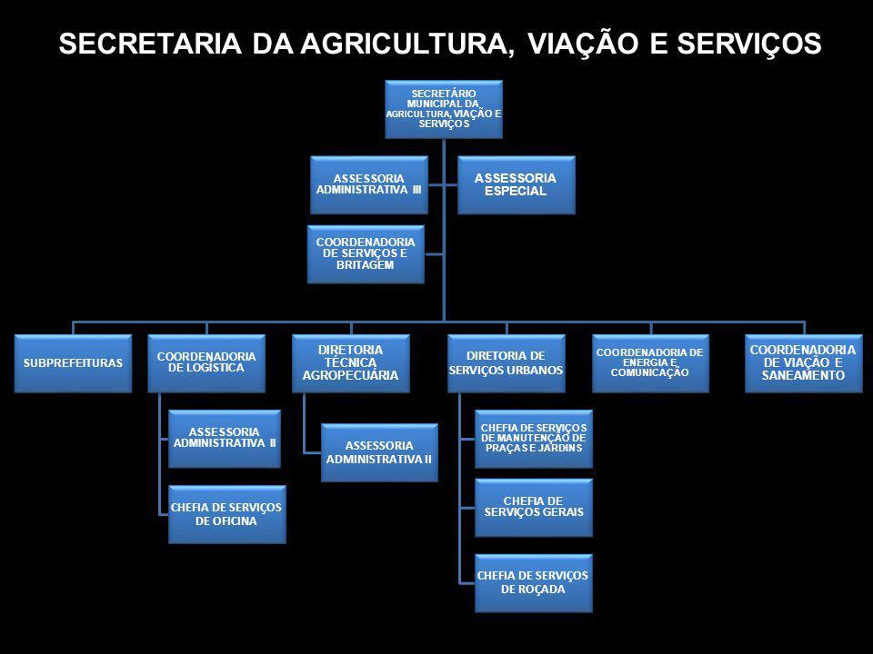 SECRETARIA DA AGRICULTURA, VIAÇÃO E SERVIÇOS SECRETÁRIO MUNICIPAL DA AGRICULTURA, VIAÇÃO E SERVIÇOS SUBPREFEITURAS COORDENADORIA DE LOGÍSTICA ASSESSOR