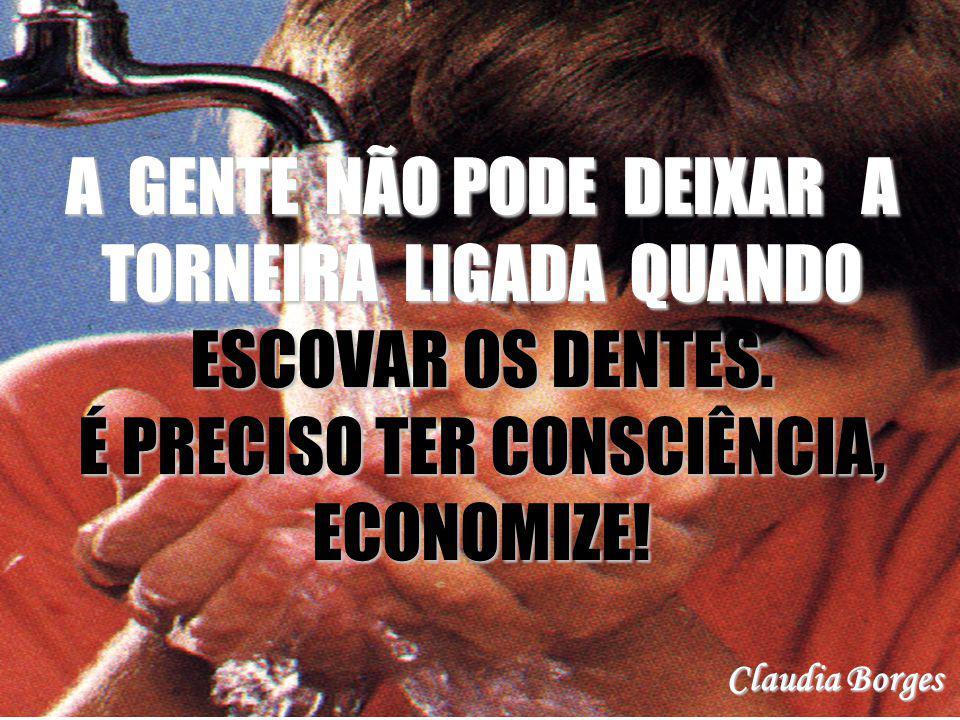 A GENTE NÃO PODE DEIXAR A TORNEIRA LIGADA QUANDO ESCOVAR OS DENTES. É PRECISO TER CONSCIÊNCIA, ECONOMIZE! Claudia Borges
