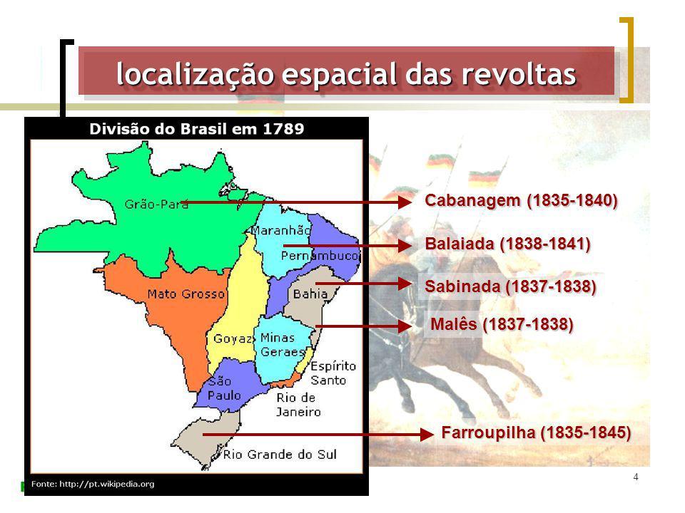 Prof. Danilo Pastorelli 4 Cabanagem (1835-1840) Farroupilha (1835-1845) Sabinada (1837-1838) Balaiada (1838-1841) Malês (1837-1838) localização espaci