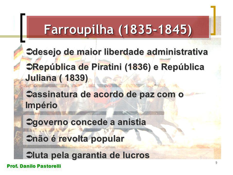 Prof. Danilo Pastorelli 9 Farroupilha (1835-1845) desejo de maior liberdade administrativa desejo de maior liberdade administrativa República de Pirat