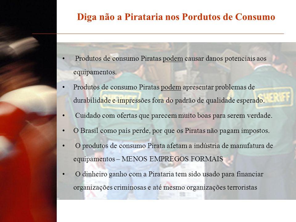 Produtos de consumo Piratas podem causar danos potenciais aos equipamentos. Produtos de consumo Piratas podem apresentar problemas de durabilidade e i