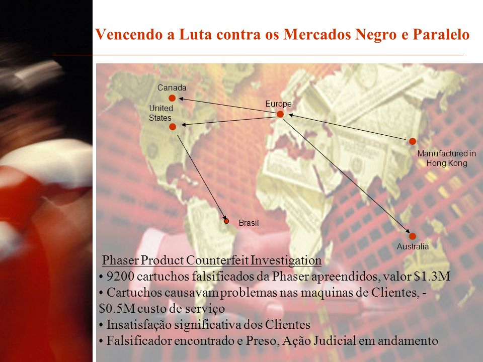 Vencendo a Luta contra os Mercados Negro e Paralelo Phaser Product Counterfeit Investigation 9200 cartuchos falsificados da Phaser apreendidos, valor