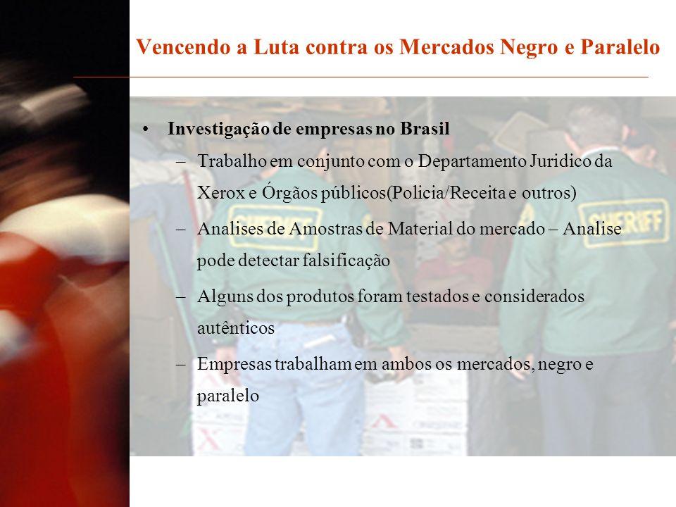Vencendo a Luta contra os Mercados Negro e Paralelo Investigação de empresas no Brasil –Trabalho em conjunto com o Departamento Juridico da Xerox e Ór