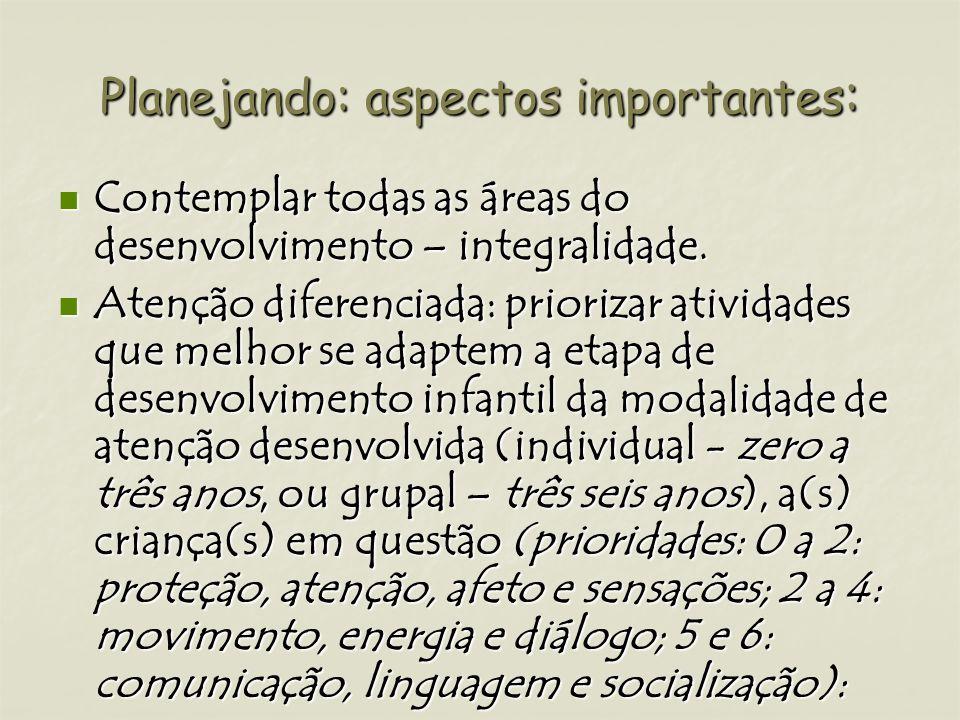 Planejando: aspectos importantes : Contemplar todas as áreas do desenvolvimento – integralidade. Contemplar todas as áreas do desenvolvimento – integr