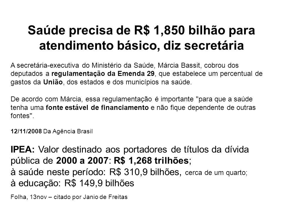 Saúde precisa de R$ 1,850 bilhão para atendimento básico, diz secretária A secretária-executiva do Ministério da Saúde, Márcia Bassit, cobrou dos depu