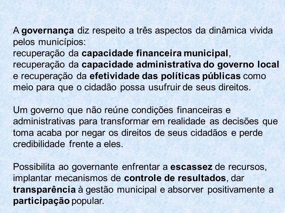 A governança diz respeito a três aspectos da dinâmica vivida pelos municípios: recuperação da capacidade financeira municipal, recuperação da capacida