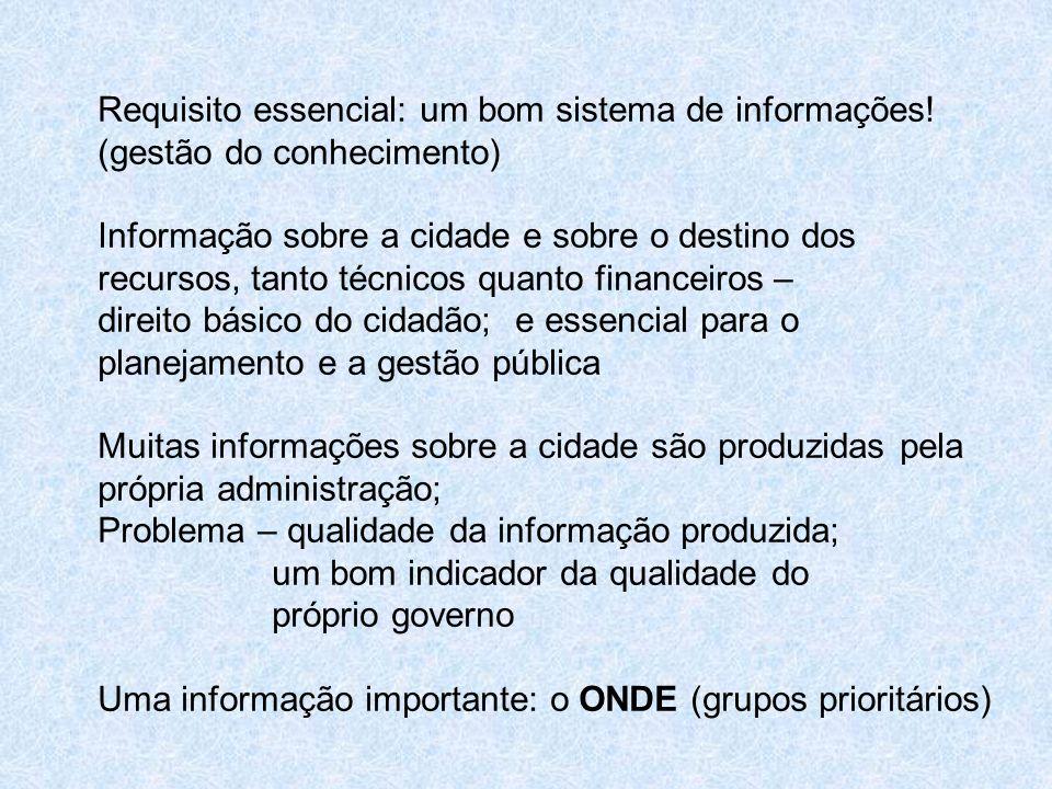 Requisito essencial: um bom sistema de informações! (gestão do conhecimento) Informação sobre a cidade e sobre o destino dos recursos, tanto técnicos