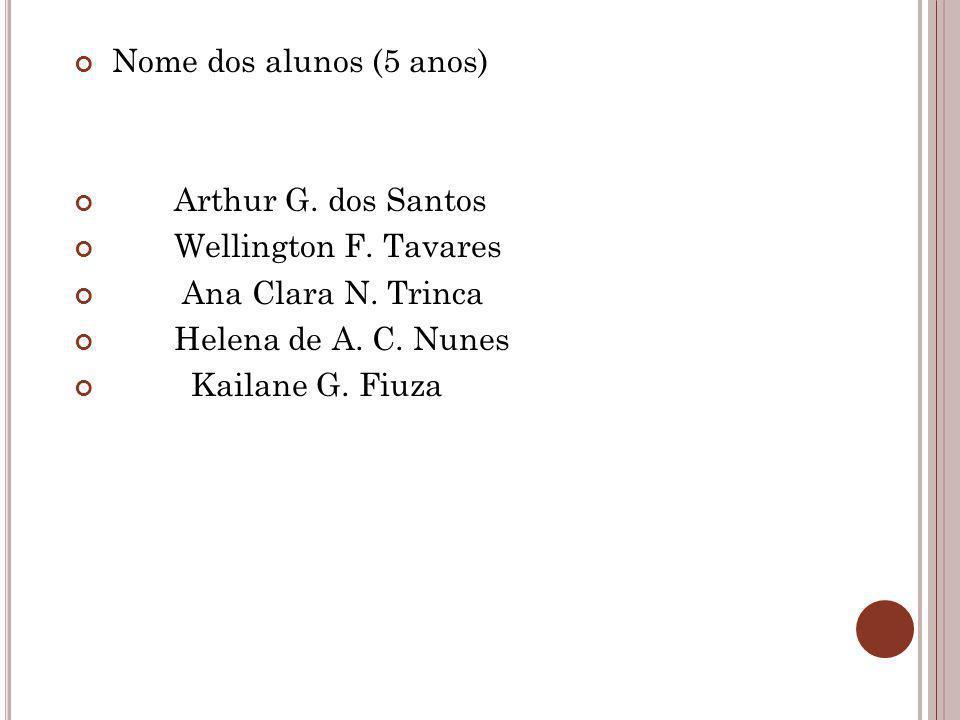 Nome dos alunos (5 anos) Arthur G. dos Santos Wellington F. Tavares Ana Clara N. Trinca Helena de A. C. Nunes Kailane G. Fiuza