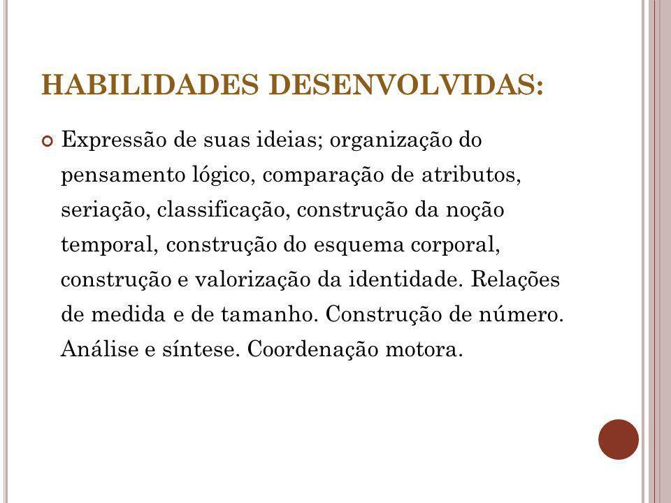 HABILIDADES DESENVOLVIDAS: Expressão de suas ideias; organização do pensamento lógico, comparação de atributos, seriação, classificação, construção da