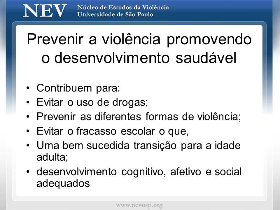 Prevenir a violência promovendo o desenvolvimento saudável Contribuem para: Evitar o uso de drogas; Prevenir as diferentes formas de violência; Evitar