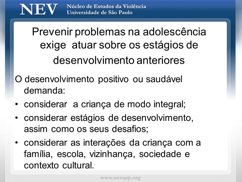 Prevenir problemas na adolescência exige atuar sobre os estágios de desenvolvimento anteriores O desenvolvimento positivo ou saudável demanda: conside