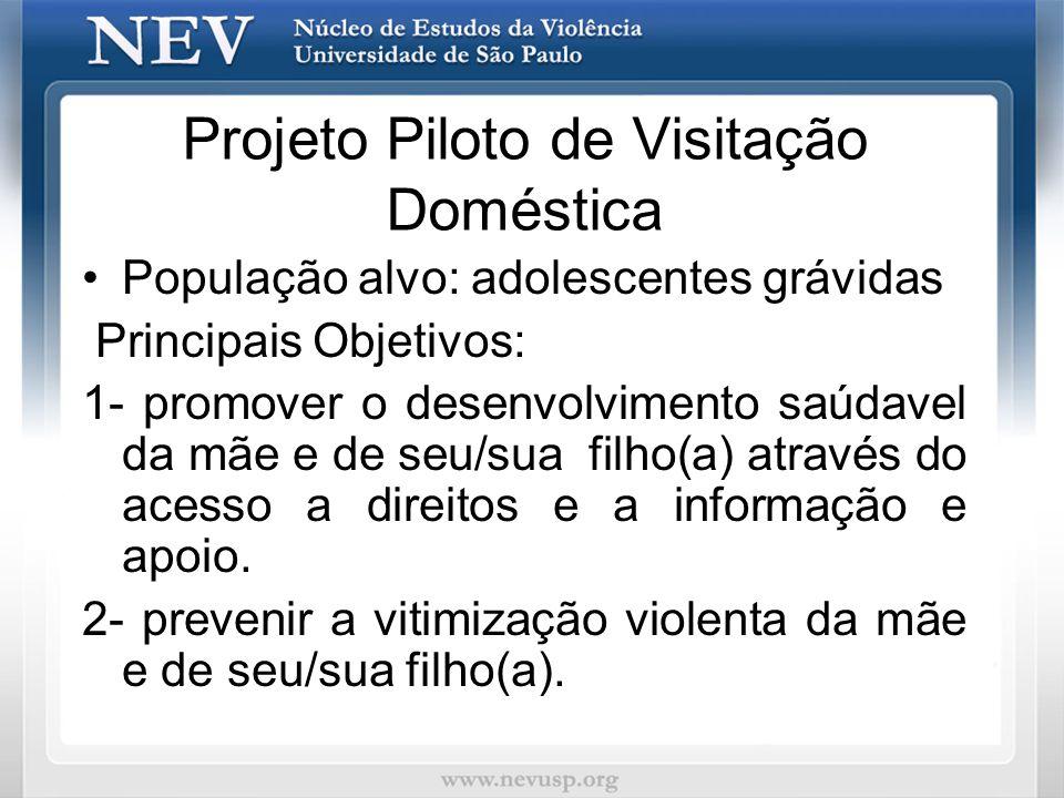 Projeto Piloto de Visitação Doméstica População alvo: adolescentes grávidas Principais Objetivos: 1- promover o desenvolvimento saúdavel da mãe e de s