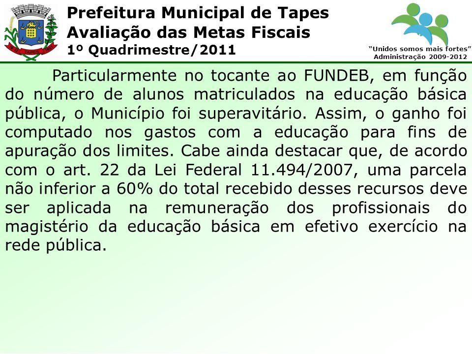 Prefeitura Municipal de Tapes Unidos somos mais fortes Administração 2009-2012 Avaliação das Metas Fiscais 1º Quadrimestre/2011 Particularmente no toc