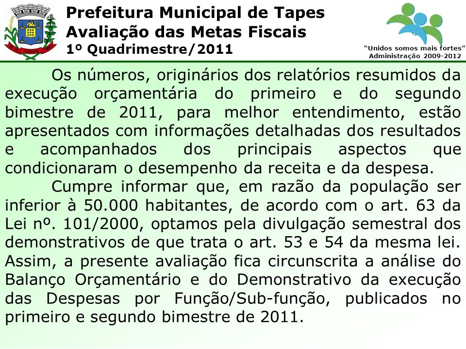 Prefeitura Municipal de Tapes Unidos somos mais fortes Administração 2009-2012 Avaliação das Metas Fiscais 1º Quadrimestre/2011 1.