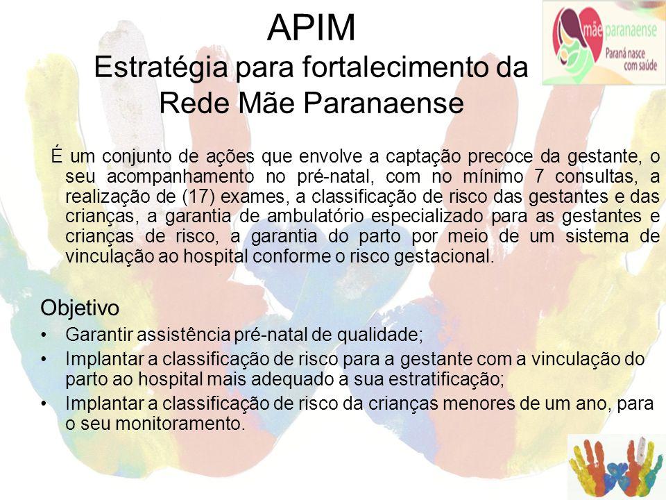 APIM Estratégia para fortalecimento da Rede Mãe Paranaense É um conjunto de ações que envolve a captação precoce da gestante, o seu acompanhamento no