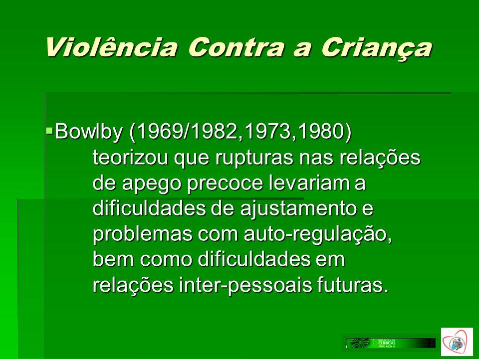 Violência Contra a Criança Bowlby (1969/1982,1973,1980) teorizou que rupturas nas relações de apego precoce levariam a dificuldades de ajustamento e p
