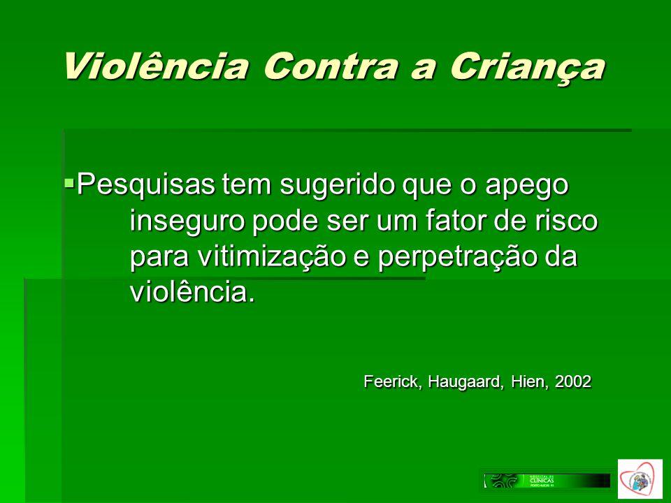 Violência Contra a Criança Pesquisas tem sugerido que o apego inseguro pode ser um fator de risco para vitimização e perpetração da violência. Pesquis