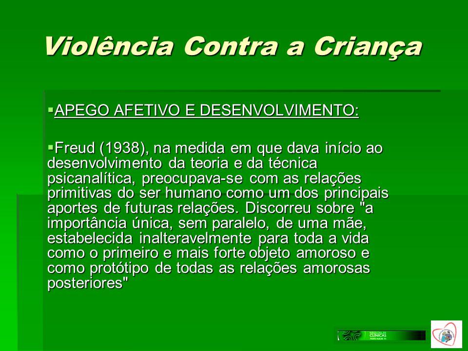 Violência Contra a Criança APEGO AFETIVO E DESENVOLVIMENTO: APEGO AFETIVO E DESENVOLVIMENTO: Freud (1938), na medida em que dava início ao desenvolvim