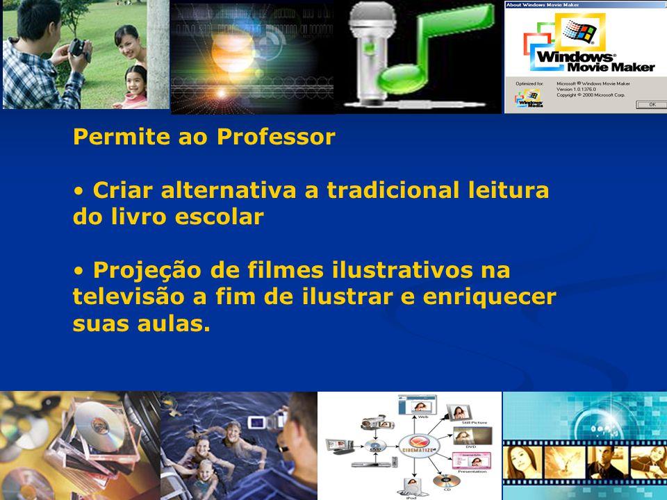 Permite ao Professor Criar alternativa a tradicional leitura do livro escolar Projeção de filmes ilustrativos na televisão a fim de ilustrar e enrique