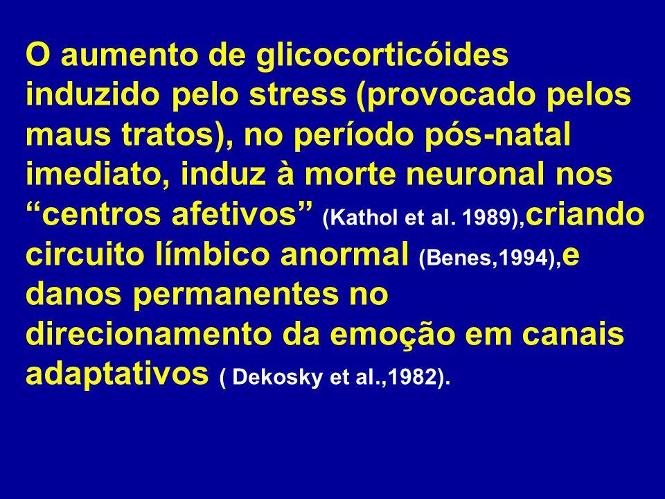 O aumento de glicocorticóides induzido pelo stress (provocado pelos maus tratos), no período pós-natal imediato, induz à morte neuronal nos centros afetivos (Kathol et al.