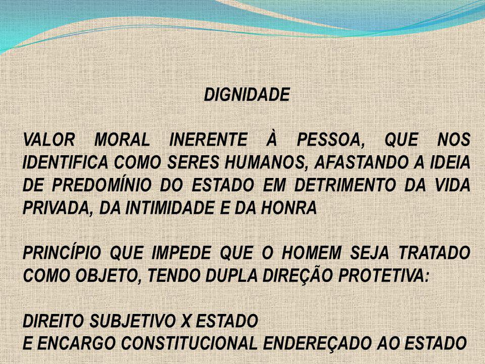 10 DIGNIDADE VALOR MORAL INERENTE À PESSOA, QUE NOS IDENTIFICA COMO SERES HUMANOS, AFASTANDO A IDEIA DE PREDOMÍNIO DO ESTADO EM DETRIMENTO DA VIDA PRI