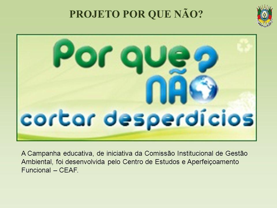 PROJETO POR QUE NÃO? A Campanha educativa, de iniciativa da Comissão Institucional de Gestão Ambiental, foi desenvolvida pelo Centro de Estudos e Aper