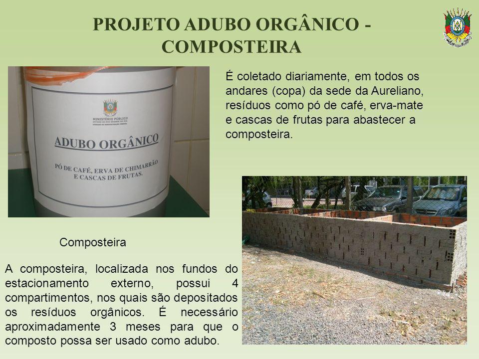 PROJETO ADUBO ORGÂNICO - COMPOSTEIRA É coletado diariamente, em todos os andares (copa) da sede da Aureliano, resíduos como pó de café, erva-mate e ca