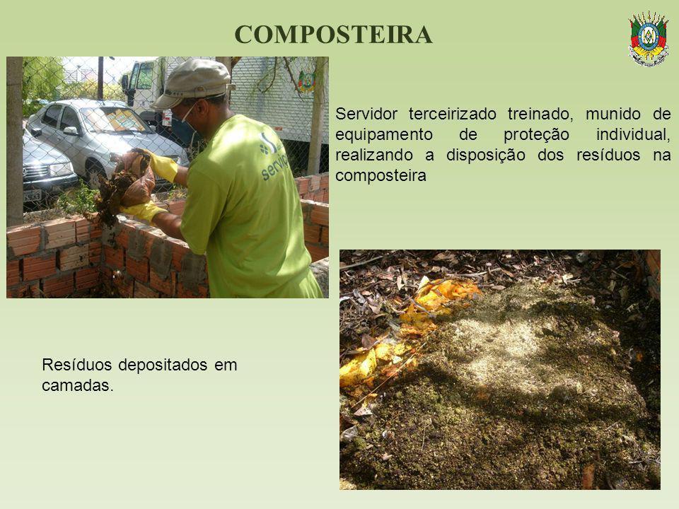 COMPOSTEIRA Servidor terceirizado treinado, munido de equipamento de proteção individual, realizando a disposição dos resíduos na composteira Resíduos
