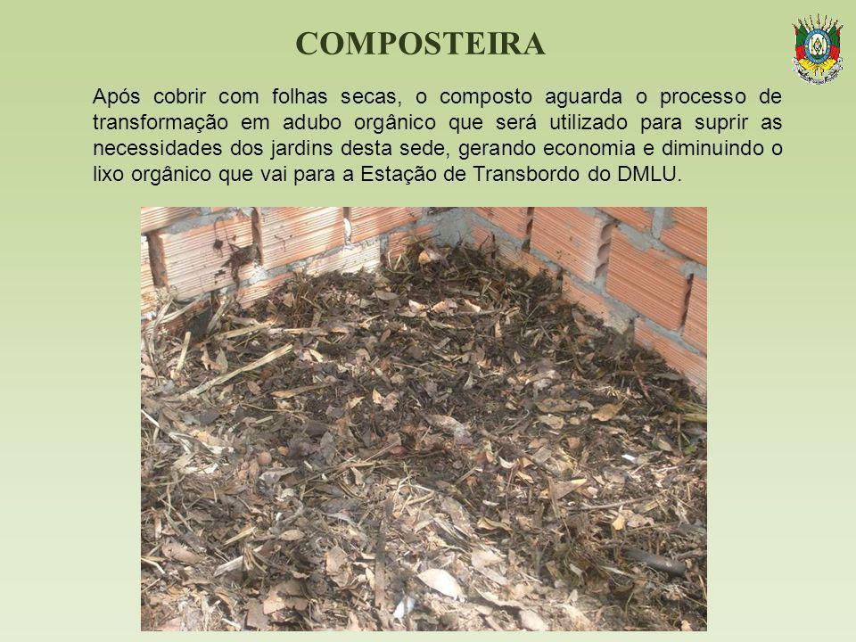 COMPOSTEIRA Após cobrir com folhas secas, o composto aguarda o processo de transformação em adubo orgânico que será utilizado para suprir as necessida