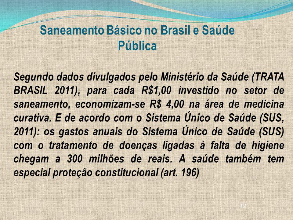 12 Saneamento Básico no Brasil e Saúde Pública Segundo dados divulgados pelo Ministério da Saúde (TRATA BRASIL 2011), para cada R$1,00 investido no se