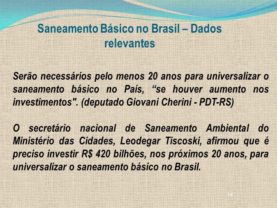 14 Saneamento Básico no Brasil – Dados relevantes Serão necessários pelo menos 20 anos para universalizar o saneamento básico no País, se houver aumen