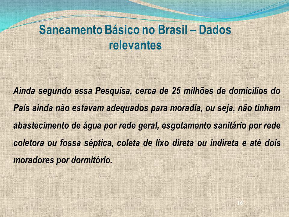 16 Saneamento Básico no Brasil – Dados relevantes Ainda segundo essa Pesquisa, cerca de 25 milhões de domicílios do País ainda não estavam adequados p