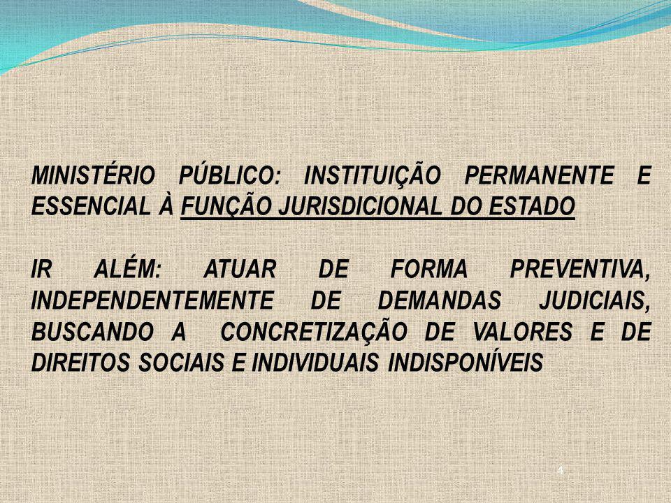 4 MINISTÉRIO PÚBLICO: INSTITUIÇÃO PERMANENTE E ESSENCIAL À FUNÇÃO JURISDICIONAL DO ESTADO IR ALÉM: ATUAR DE FORMA PREVENTIVA, INDEPENDENTEMENTE DE DEM
